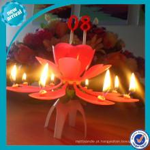Rosa flor aniversário vela / auto música com rotação tier