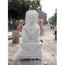 Decoração do jardim escultura em pedra branco leão escultura estátua de mármore