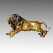 Animal Branze Escultura Roar León Tallado Deco Latón Estatua Tpal-035