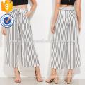 Vertical Striped Self Tie Wide Leg Pants Manufacture Wholesale Fashion Women Apparel (TA3078P)