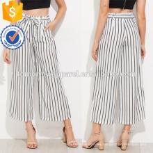 Los pantalones anchos de la pierna del lazo del uno mismo rayado vertical manufacturan la ropa de las mujeres al por mayor de la manera (TA3078P)