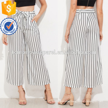 Vertical Striped Self Tie Wide Leg Pants Manufacture Wholesale Fashion Women Apparel (TA3078P)