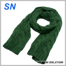 Solid Color Thick Winter Warm Cable Knit Scarf for Ladies