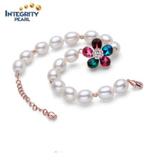 Pulsera de perlas de agua dulce AAA 7-8mm caída de chapas de oro pulseras de perlas de moda