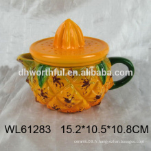 Moule de théière en céramique en forme d'ananas mignonne, bouilloire en céramique pour vente en gros