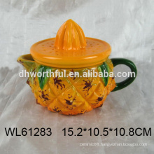 Cute pineapple shaped ceramic teapot bulk,ceramic tea kettle for wholesale
