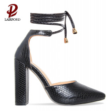 black elegant chunky heel pumps for girls