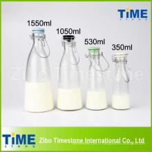 500ml 1000ml 1500ml couvercle en céramique clair bouteilles de lait en verre