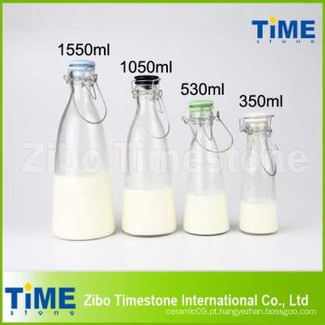 500ml 1000ml 1500ml Clip Ceramic Lid garrafas de leite de vidro claro
