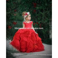 Neue Mode runden Hals Länge Baby Mädchen Hochzeitskleid Perlen A Linie Baby Mädchen Kleid in roter Farbe für Party