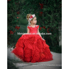 Vestido de boda del bebé de la nueva de la manera redonda del piso del cuello rebordeó un vestido del bebé de la línea en el color rojo para el partido