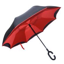 2017 vente chaude imprimé logo inversé forme c poignée parapluie à l'envers