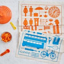 hight qualidade carro padrão laranja e azul toalha de cozinha toalha de chá TT-038