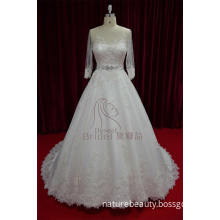 Gorgeous Long-Sleeved Ball Gown with Beading