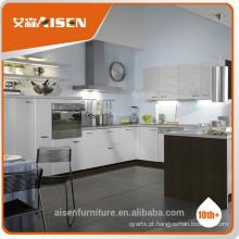 Armário de cozinha moderno em PVC branco e cinza para uso doméstico