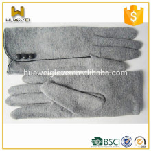 High quality women's sheep woolen hand gloves with button side lined