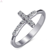 Best Selling Titanium Steel Silver Zircon Cross Women 'S Rings