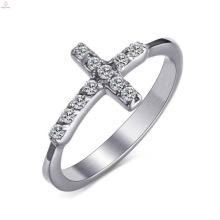 A melhor venda de titânio aço prata zircão cruz anéis femininos