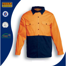 100% Cotton Long Sleeve Hi Vis Twill Safety Work Shirt