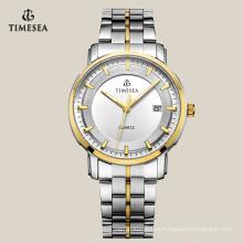 Reloj de hombre de cuarzo de acero inoxidable con dos tonos plateados 72134