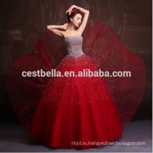 2017 Новый Дизайн Роскошные Тяжелые Бисером Блестками Кристалл Красный Королевский Синий Пром Платья Вечернее Платье