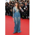CN07 Sexy Cannes Film Festival 2015 Frederique Bel Red Carpet Celebrity Long Sleeve See Through Evening Dresses