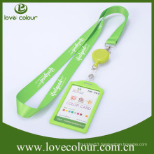 Custom retractable id badge holder with polyester lanyard