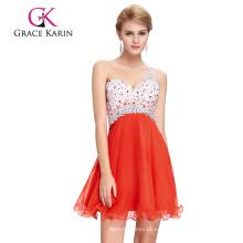 Grace Karin Nueva llegada Backless un hombro con cuentas de gasa vestido de cóctel de naranja 2016 GK000109-1