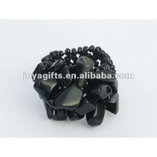 Black Onyx Chip Stretch Seed Perles de verre Ring