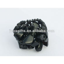 Black Onyx Chip stone Stretch Seed Glass beads Ring