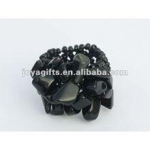 Черный ониксовый чип-камень Стретч-стекло из бисера