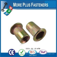 Made In Taiwan Large Flange Threaded Insert Flat Head Knurled Body Open Head Rivet