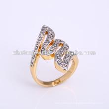 Nova latão banhado a ouro 2 s letra n anéis de jóias