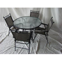 Outdoor sling furniture 5pc dining set-glass top-umbrella hole