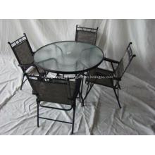 Buraco top-guarda-chuva de conjunto-vidro de refeições estilingue ao ar livre mobiliário 5pc