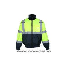 Winter Hohe Sichtbarkeit Wasserdichte Sicherheitsjacke mit abnehmbarem Fleecefutter