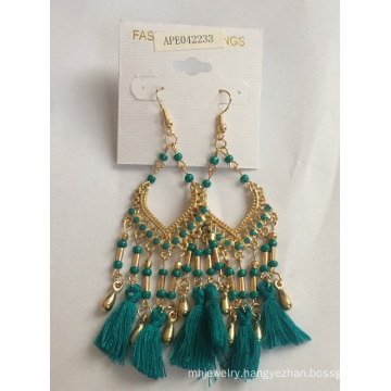 Green Fabric Earring with Metal Tassel