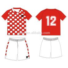uniforme de futebol juvenil nenhum logotipo vermelho branco futebol jersey conjunto para venda