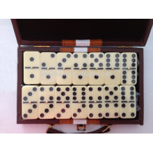 Double Six Domino con caja de cuero Double Six Dominos con caja de piel Double nine available