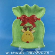 Pintado a mano Caja de Navidad de cerámica Placa, ciervo de Navidad Placa