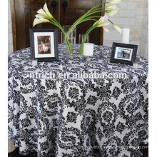 Taffetas polyester flocage nappe, superposition de table, chemin de table pour les mariages