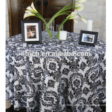 Polyester Taffeta flocking table cloth,table overlay,table runner for weddings