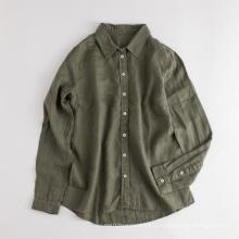 Экологичная женская повседневная льняная блузка с длинным рукавом
