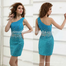 Stunning 2014 Turquoise Short Homecoming Dress One-Shoulder Jeweled Bodice Sequined Skirt Sexy Sheath Graduation Gown NB0908