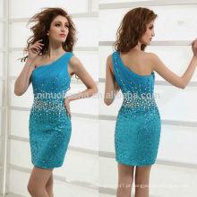 Deslumbrante vestido turquesa de aniversário 2014 Vestido com ombro de um ombro Vestido de graduação de bainha sexy com bainha Jewelled NB0908
