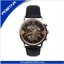 Reloj mecánico automático del reloj de la manera con la venda de cuero de Geunine