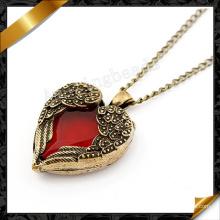 Colgante del collar del corazón de las alas del ángel, joyería al por mayor del collar (FN010)