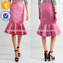 Venta caliente con volantes dobladillo satén rosa poliéster midi verano falda fabricación venta al por mayor moda mujeres ropa (TA0039S)