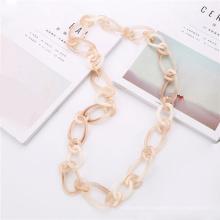 2020 Trendy Irregular shape resin long chain jewellery for women custom acrylic link necklace