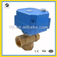 Valve actionnée par moteur électrique de connexion de fil de trois manières de 110V 3 et valve manuelle d'opération